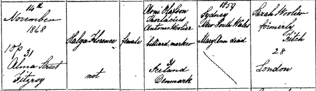 Photo of Helga Florence Birth Certificate