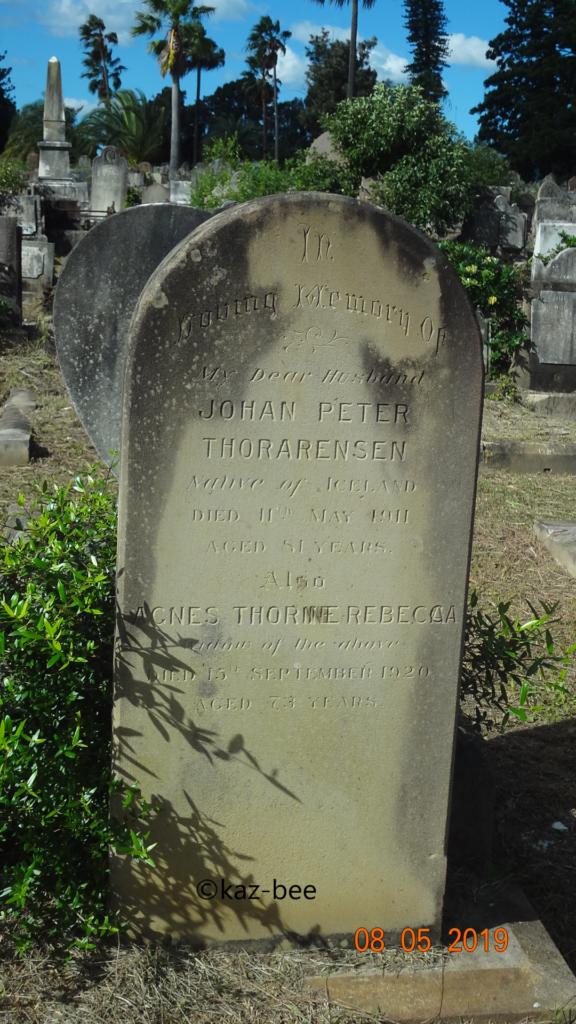 Mynd af legsteini Jóhann Pétur Oddsson Thorarensen í Rockwood kirkjugarðinum í Sydney